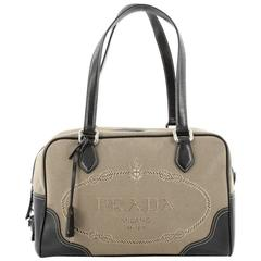 Prada Logo Bauletto Handbag Canvas with Leather Medium