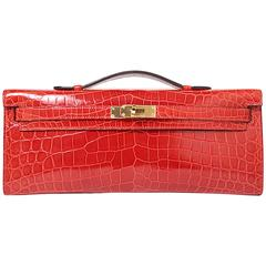 Hermes Kelly Cut Crocodilus Niloticus Leather Red Color GHW