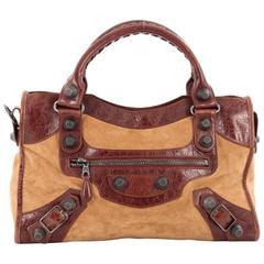 Balenciaga City Giant Studs Handbag Suede and Leather Medium