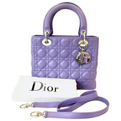 2000s Dior Violet Leather Lady D Tote Bag