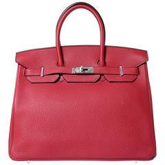 Hermes Birkin 35 Togo Leather Brick Red Color PHW