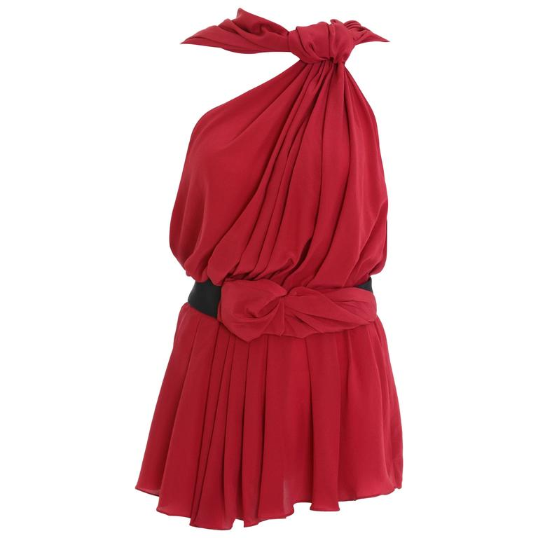 VIONNET Red Draped Mini Dress Blouse For Sale