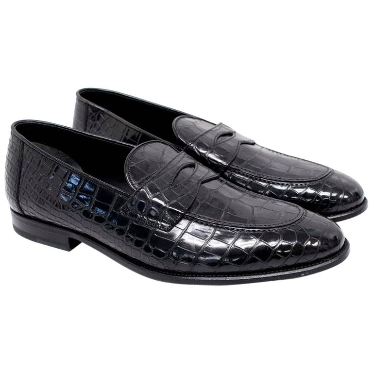 Tom Ford Men's Black Crocodile Leather Loafers For Sale