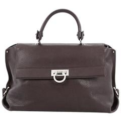 Salvatore Ferragamo Sofia Satchel Pebbled Leather Large