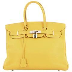 Hermes Birkin Handbag Soleil Yellow Clemence with Palladium Hardware 35