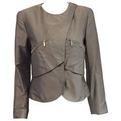 Glamorous Giorgio Armani Raw Silk Silver Cropped Jacket