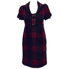 Gucci Black & Burgundy Wool Geometric Design Dress in Dress 38 EU