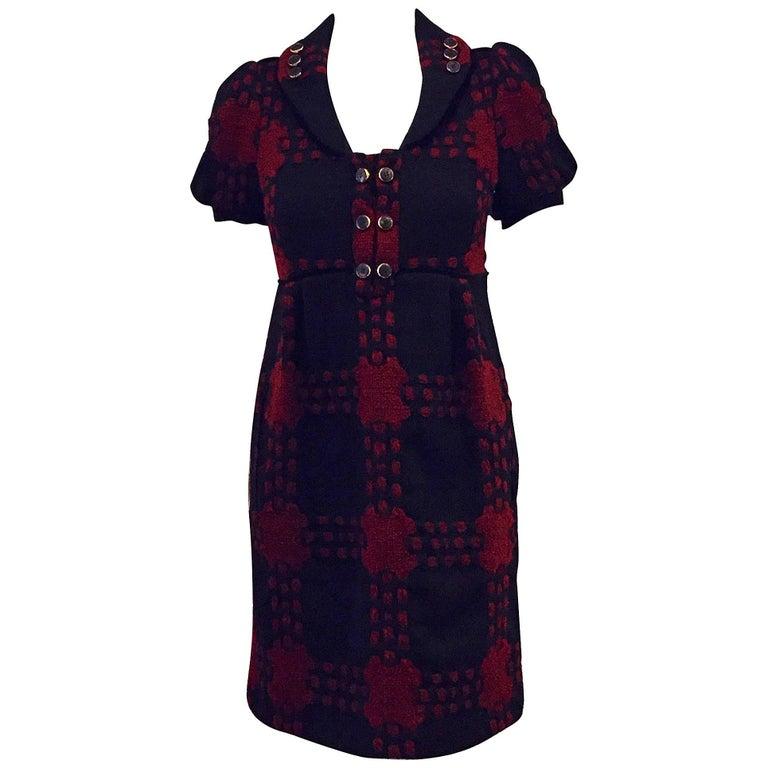 Gucci Black & Burgundy Wool Geometric Design Dress in Dress 38 EU For Sale