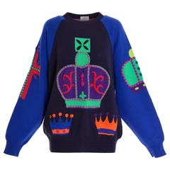 "1980s GIANNI VERSACE ""King"" Printed Embroidered Sweater Pullover"