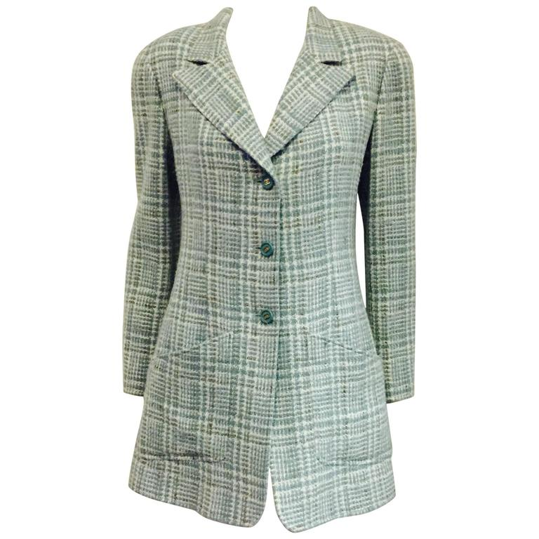 Constructed Chanel Jacket in Turquoise and White and 3 Button Front