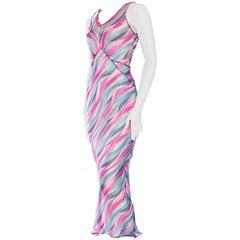 1930S Purple & Blue Silk Mousseline French Seamed Bias Cut Slip Dress
