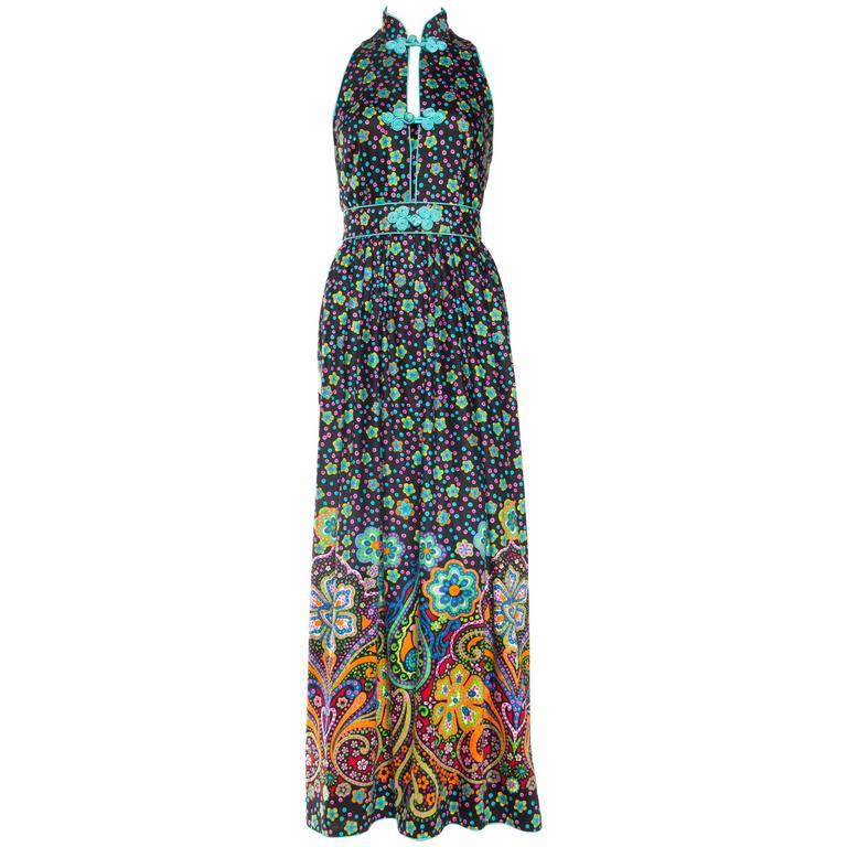 Rare Early 1970s Oscar De la Renta Cotton Floral Dress For Sale