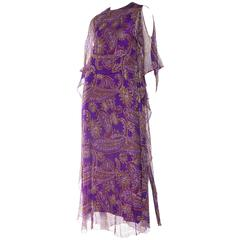 1970s Metal Embroidered Silk Chiffon Paisley Dress