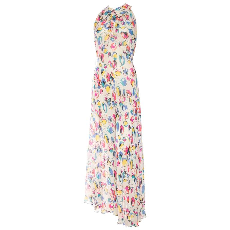 Beautiful 1930s Floral Bias Silk Chiffon Dress