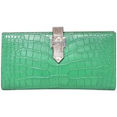 Hermes Bearn Wallet Crocodile Fight Lizard Skin Green / Ombre Color PHW
