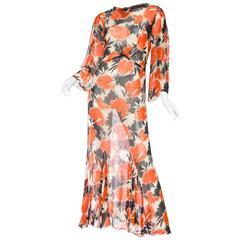 1930s Sheer Silk Chiffon Abstract Floral Tea Dress