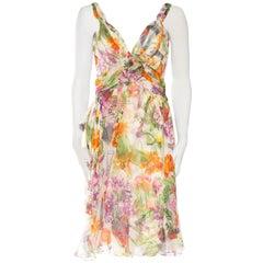 1990S JOHN GALLIANO CHRISTIAN DIOR Pastel Floral Silk Chiffon Backless Beaded G