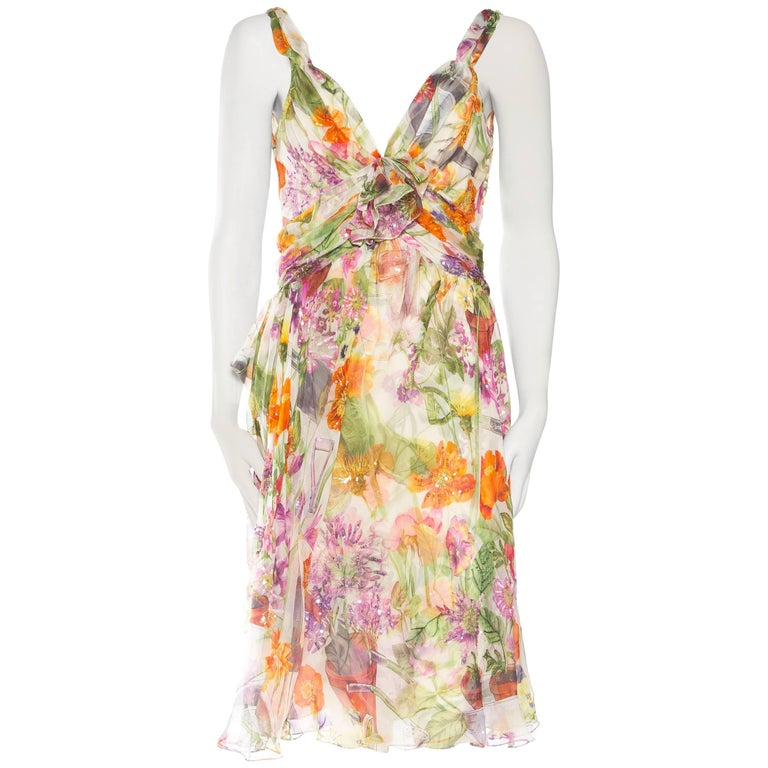 1990S JOHN GALLIANO CHRISTIAN DIOR Pastel Floral Silk Chiffon Backless Beaded G For Sale