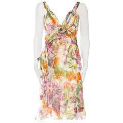 1990s Backless John Galliano Christian Dior Beaded Floral Chiffon Garden Dress