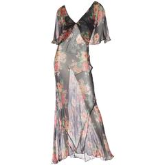 Sheer and Sexy Original 1930s Bias-Cut Floral Silk Chiffon Dress