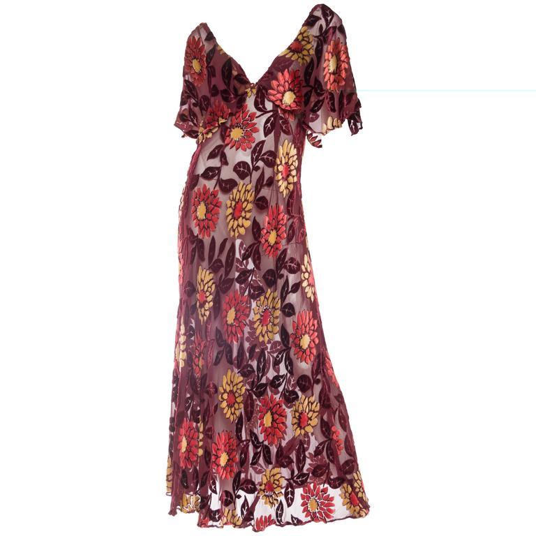1930s Sheer Bias Cut Silk Burnout Velvet And Chiffon Dress