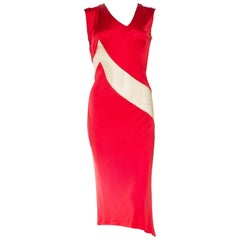 1990S ALEXANDER MCQUEEN Blood Red Acetate Jersey Nude Illusion Paneled Dress Fr