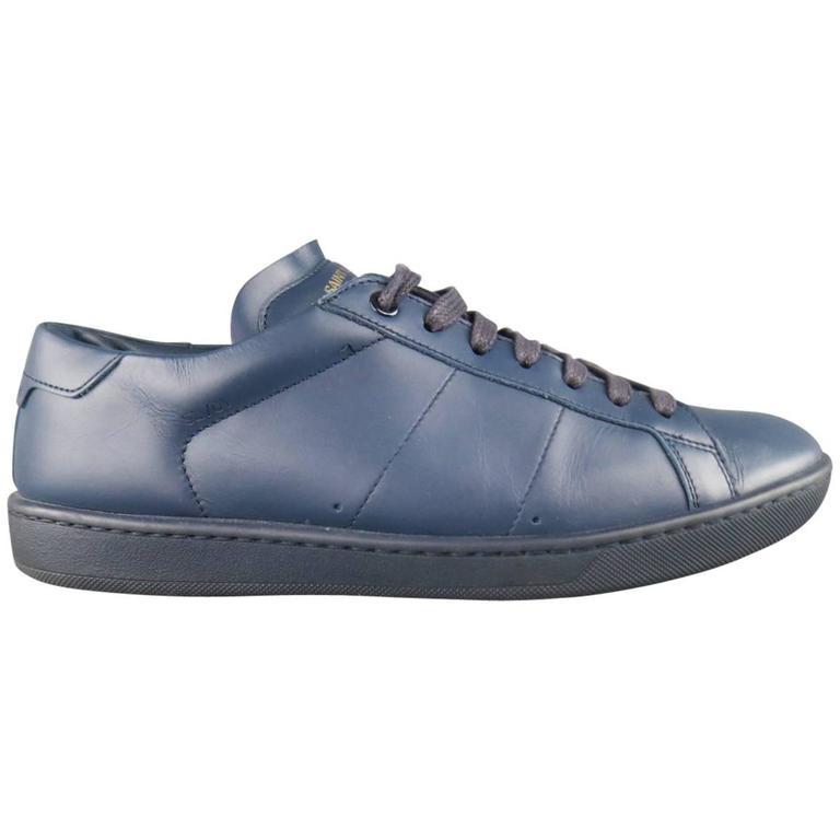 dccb92ebea25 Men s SAINT LAURENT Size 7 Navy SL 01 Court Classic Leather Sneakers For  Sale
