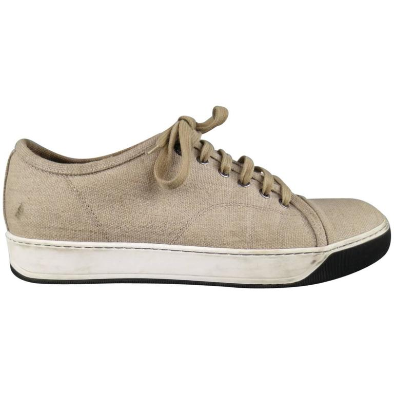 Men's LANVIN Size 8 Beige Woven Canvas Cap Toe Sneakers