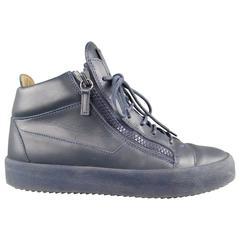 Men's GIUSEPPE ZANOTTI 10 Monochromatic Navy Leather Zip High Top May London Sne