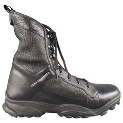 Men's Y-3 YOHJI YAMAMOTO Size 12 Black Leather Tall Combat Boots
