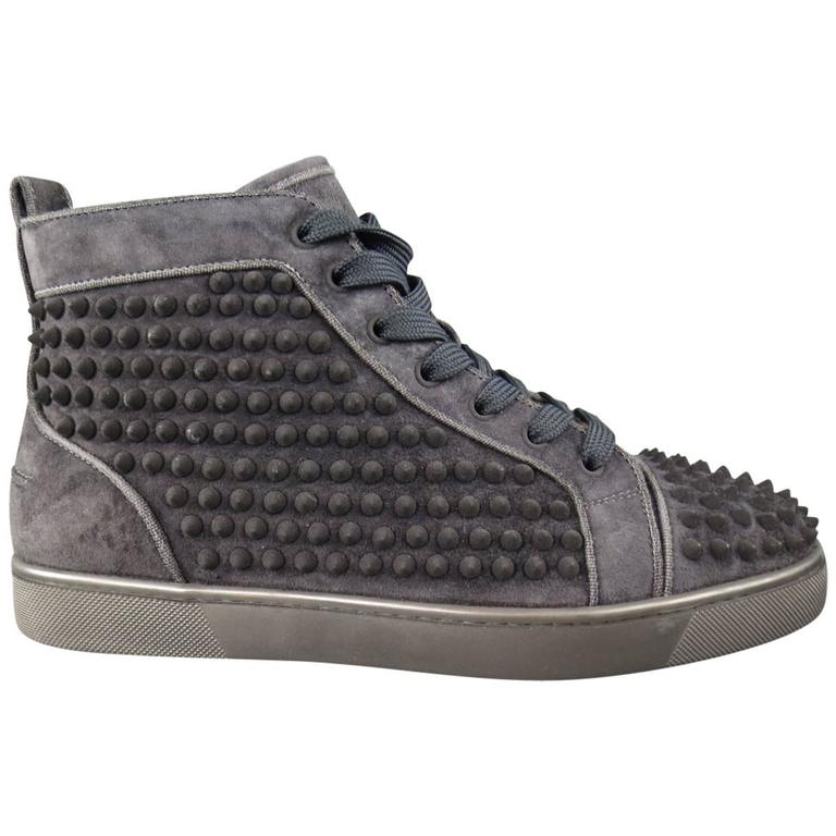 Men S Christian Louboutin Size 8 Charcoal Suede Louis Spike High Top Sneakers
