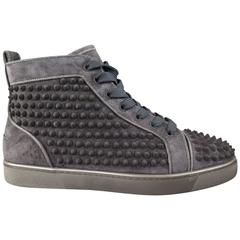Men's CHRISTIAN LOUBOUTIN Size 8 Charcoal Suede Louis Spike High Top Sneakers