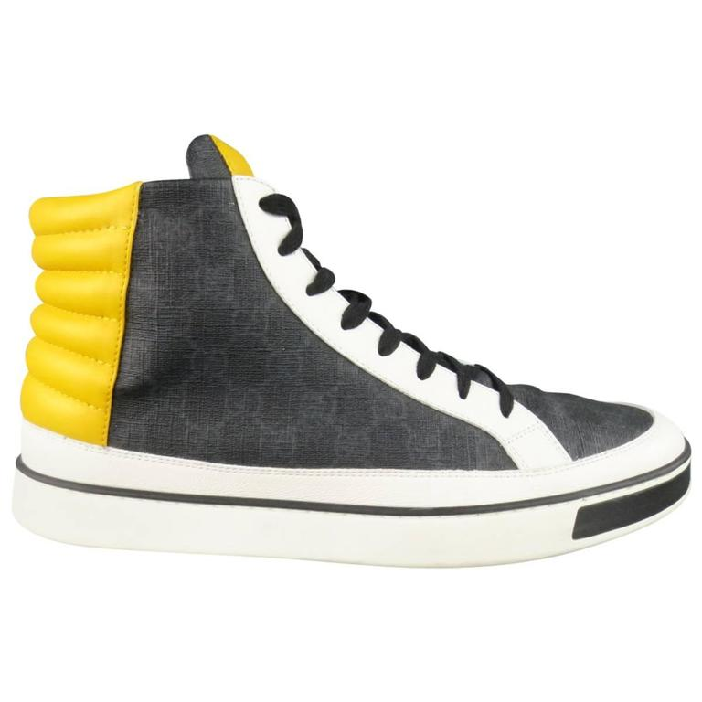 men 39 s gucci size 13 5 white and yellow navy monogram leather high top sneakers at 1stdibs. Black Bedroom Furniture Sets. Home Design Ideas