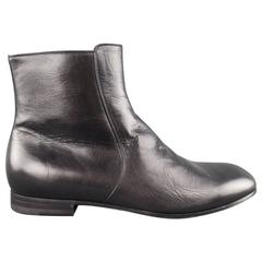 Men's GUCCI Size 12 Black Leather Zip Chelsea Ankle Boots