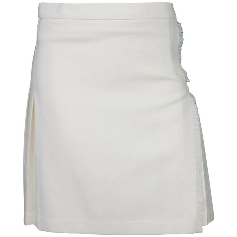 burberry ivory wool pleated wrap skirt sz uk12 for sale at