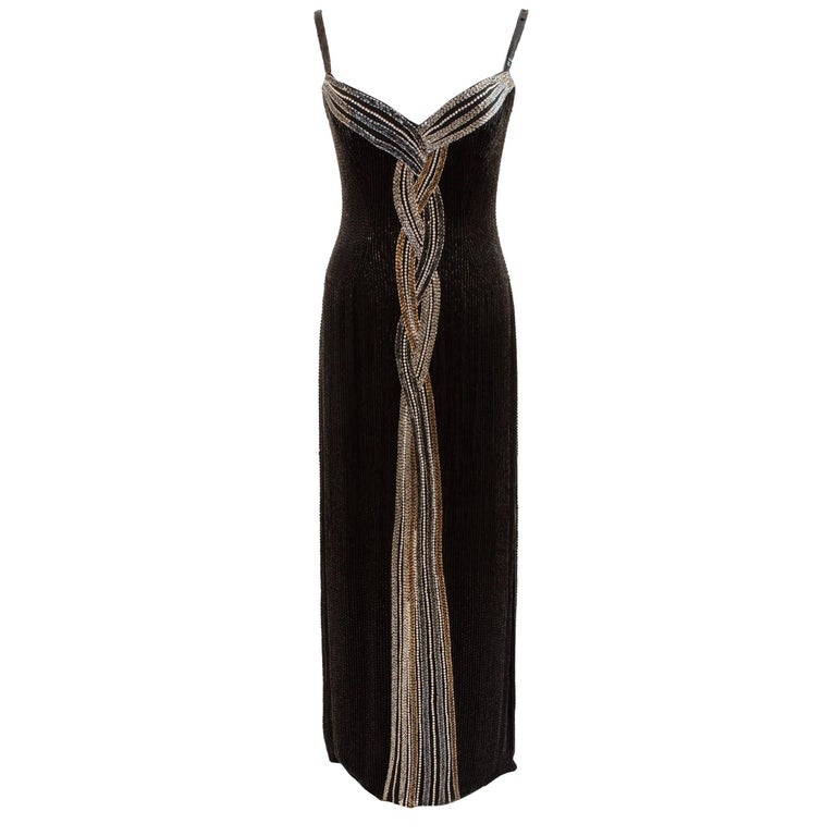 Iconic Bob Mackie Evening Gown Embellished Black Silk Sleeveless Sz10 80s 1