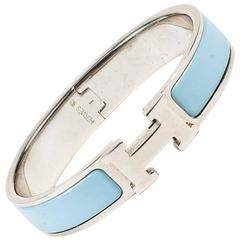 "Hermes Blue & Silver Tone Enamel Narrow ""Clic H"" Bracelet"