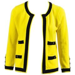 Chanel Boutique Vintage Yellow Black Cashmere Striped Cardigan