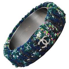 Chanel 13A Green Navy Multicolor Woven Tweed 'CC' Bangle Bracelet