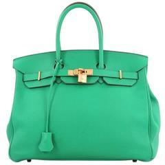 Hermes Birkin Handbag Menthe Green Clemence with Gold Hardware 35