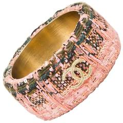 Chanel 13A Pink Green Woven Tweed 'CC' Wide Bangle Bracelet