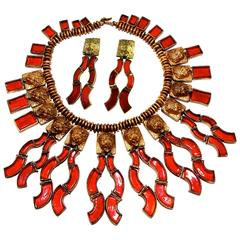 Rare Chanel Lion Head Red Glass Fringe Necklace with Matching Earrings Set 60s