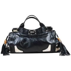 "Gucci Black Leather Bamboo Tassel ""Race"" Tote Bag"
