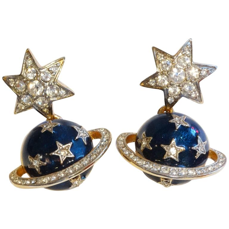 bd0e449433a5a 1980s Butler & Wilson Saturn & Star Enamel Earrings