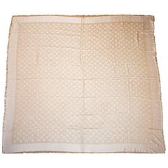 Louis Vuitton Nude Monogram Wool & Silk Large Scarf Shawl