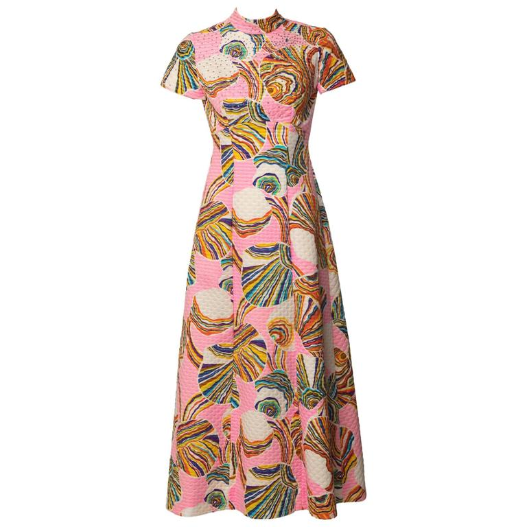 1960's Mr. Blackwell Pink Multicolor Swirl Print Rhinestone Maxi Dress