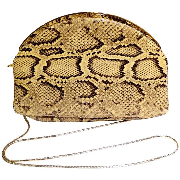 Judith Leiber Python Snakeskin Evening Bag For Sale