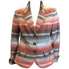 Akris Coral Stripe Double Collar Blazer