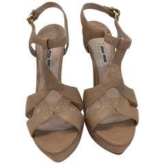 Miu Miu New Nude Sandal Pumps