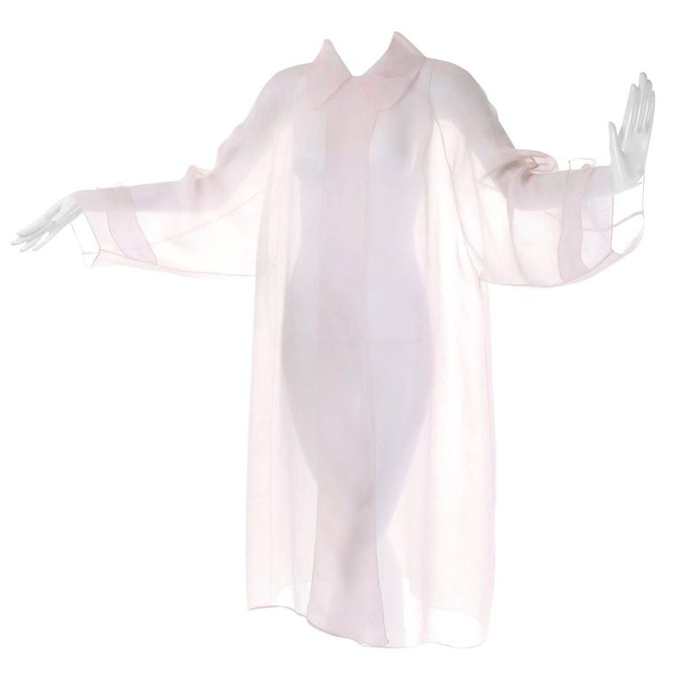 a9947028343d48 1980s Off White Calvin Klein Sheer Organza Vintage Jacket or Long Tunic Top  For Sale